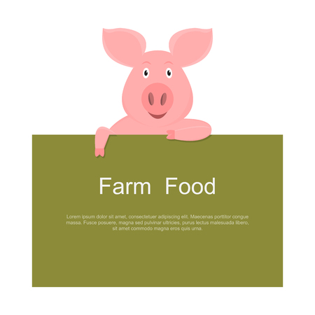 little pig holding empty green sign isolated on white background. vector illustration
