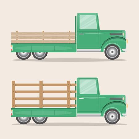 set of old retro pickup truck delivery inside farm. Vintage transport car. vector illustration