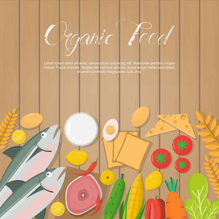 Fresh vegetables and organic food on wooden board, healthy food in flat design vector illustration