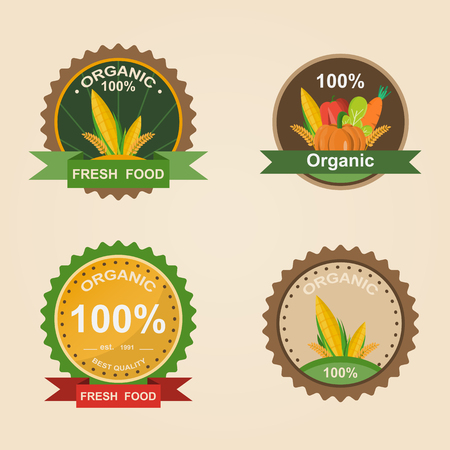 Organic Fresh Product. Vector illustration logo. Farm Fresh badge. Organic product sticker. Farmers Market concept
