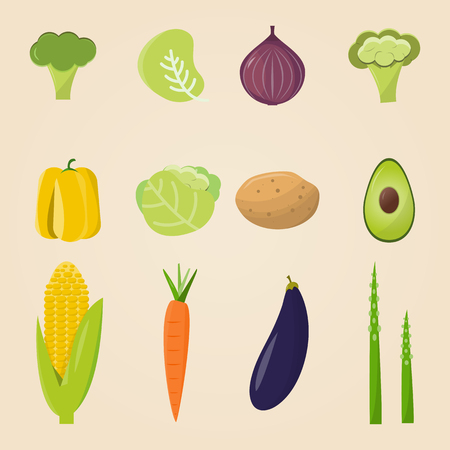 Organic food. Vector illustration, set of vegetables and fruits. Healthy eating Çizim
