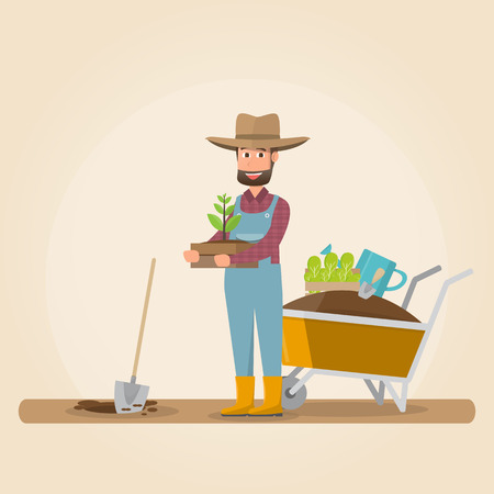 man with shovel planting a tree outdoors. vector illustration. man planting a tree.