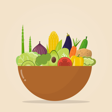a bowl of organic food. Vector illustration, set of vegetables and fruits. Healthy eating concept