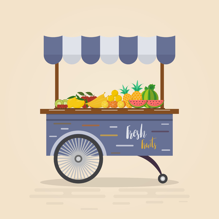 Farm shop. Local market. Selling fruit and vegetables. store on flat design vector illustration. Fresh food