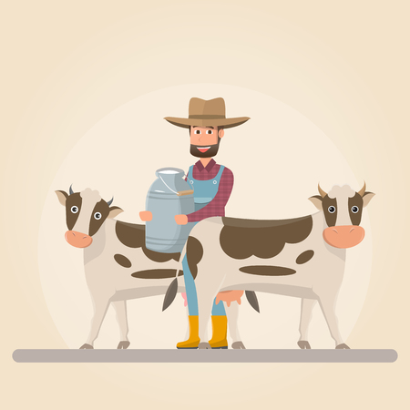 farmer cartoon character with milk cow in organic rural farm. vector illustration