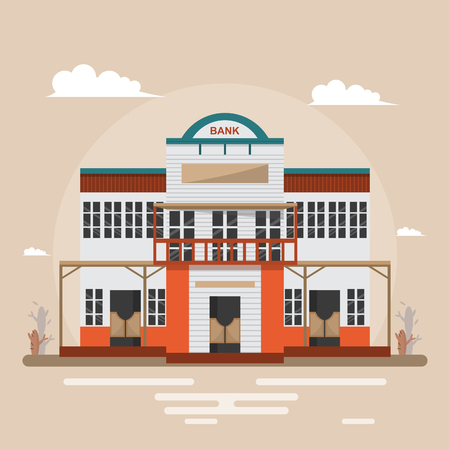 Bank in western town on brown background. Building design vintage style. Vector illustration. Çizim