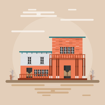 home in western town on brown background. Building design vintage style. Vector illustration.