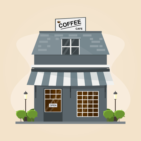 modern coffee shop building. Set of elements for construction on retro background. Vector illustration flat style Çizim