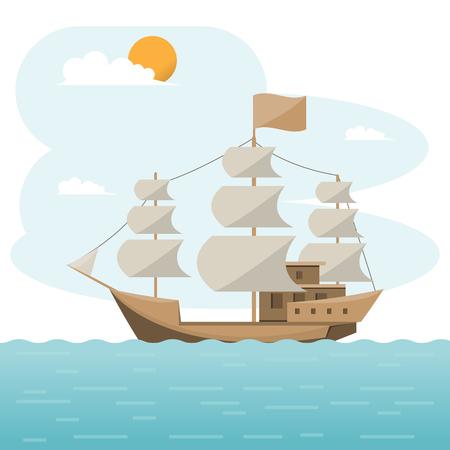 Logistique de transport maritime. brig, fret maritime. Navire cargo, expédition de conteneurs sur un style plat. Illustration vectorielle