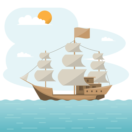 Sea transportation logistic. brig, Sea Freight. Cargo ship, container shipping on flat style. Vector illustration