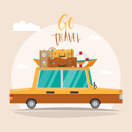 Summer trip. Family travel at the beach on vacation. traveling by car on summer holidays. vector illustration