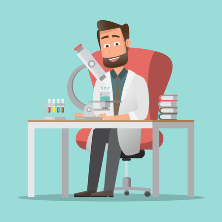 males scientists making a research in lab. science concept. vector illustration