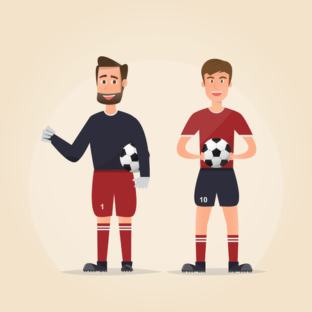 Set of football player characters showing different actions on brown background. vector illustration Çizim