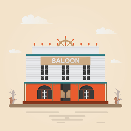 Home in western town on brown background. Building design vintage style. Vector illustration. Çizim