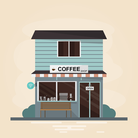 Modern coffee shop building. Set of elements store construction. Vector illustration flat style