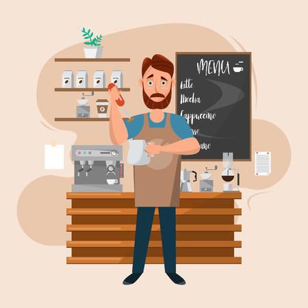 Hombre barista con máquina y accesorios en una cafetería. Sirve y sostiene la leche y prepara una taza de café. Personal del restaurante de dibujos animados. Ilustración vectorial