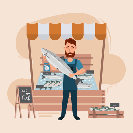 Fish store market and freshness seafood in fridge. man seller cartoon character. vector illustration. Çizim