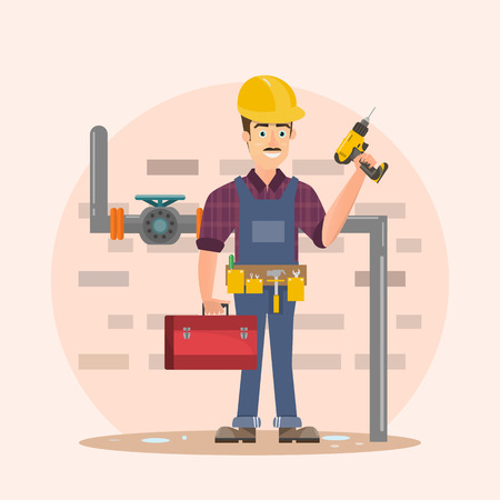 Architect, foreman, engineering construction worker. Vector illustration cartoon character design