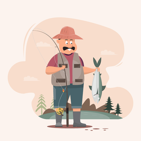 Fisherman character holding a big fish and a fishing rod. Cartoon vector illustration.