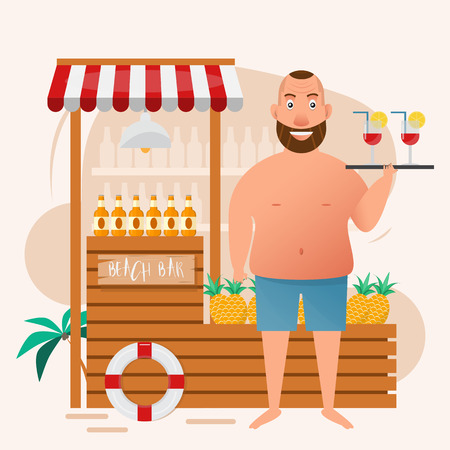 fat man holding cocktail glass at beach bar. vector illustration cartoon character