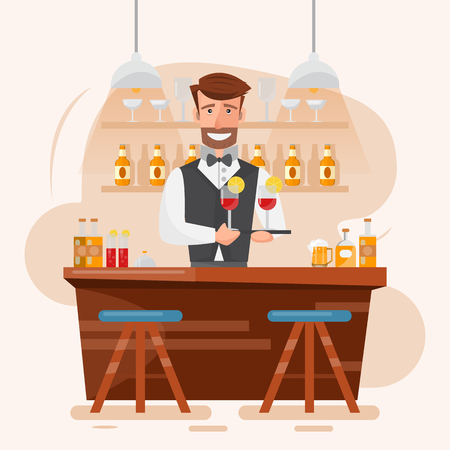 smart man bartender holding cocktail and beverage at a night bar. vector illustration cartoon character design