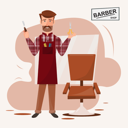 smart hairdresser man standing in front of his barber shop. vector illustration cartoon character