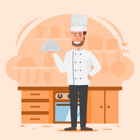 professional man chef with restaurant kitchen background. people cartoon characters.