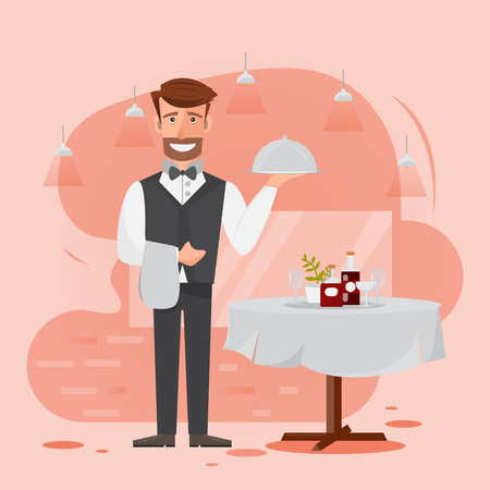 waiter man serving food in the restaurant. vector illustration cartoon character