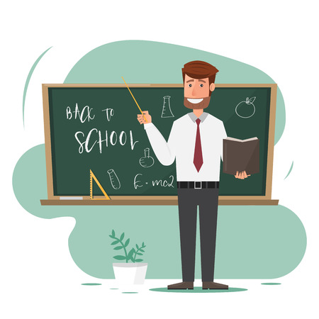 male teacher with pointer on lesson at blackboard in classroom. teacher cartoon character. Vector illustration Çizim
