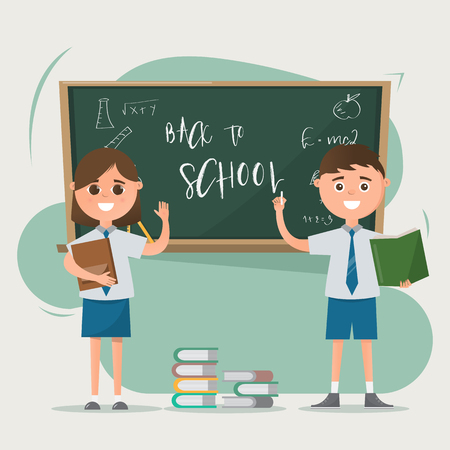 Happy students drawing on blackboard with books on the floor. education concept. vector illustration cartoon character