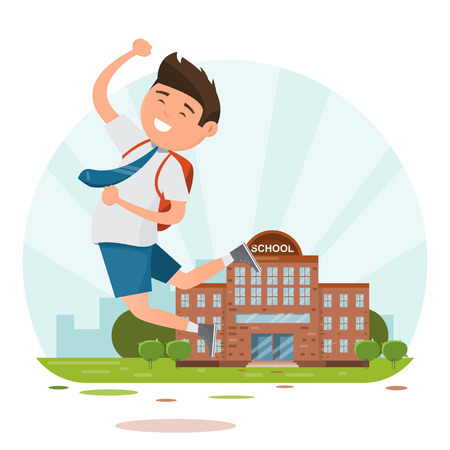 Happy students when back to school. education concept. vector illustration cartoon character