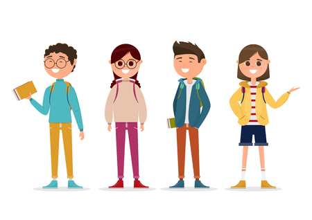 students in different character isolated on white background. education concept. vector illustration cartoon character