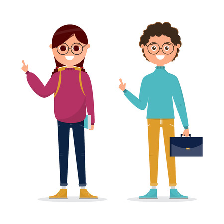 students in different character isolated on white background. back to school, education concept. vector illustration cartoon character Çizim