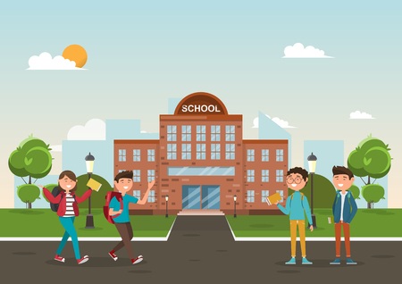 students in different character at school. education concept. vector illustration cartoon character