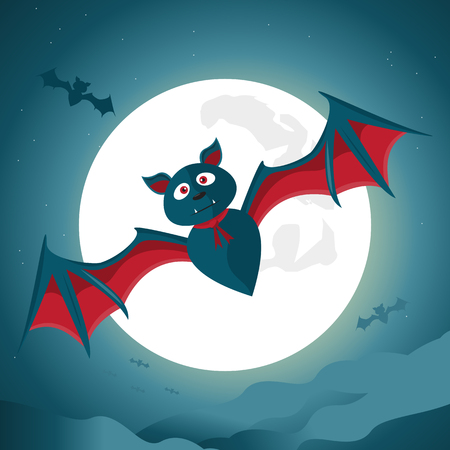 Halloween night background with big bat under the moonlight. Vector illustration.