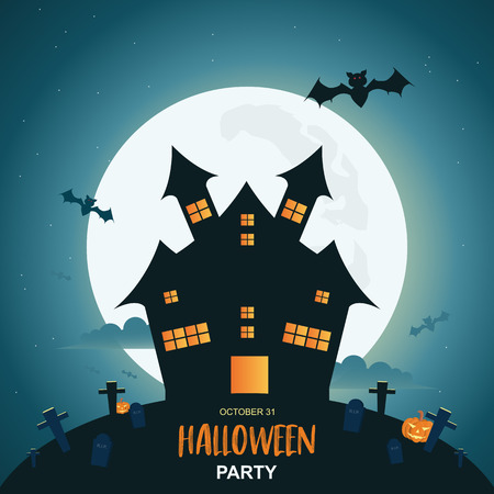 Halloween night background with pumpkin and dark castle under the moonlight. Vector illustration. Stok Fotoğraf - 120176202