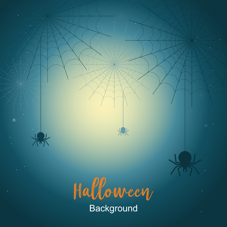 Halloween night background with spider web under the moonlight. Vector illustration. Çizim