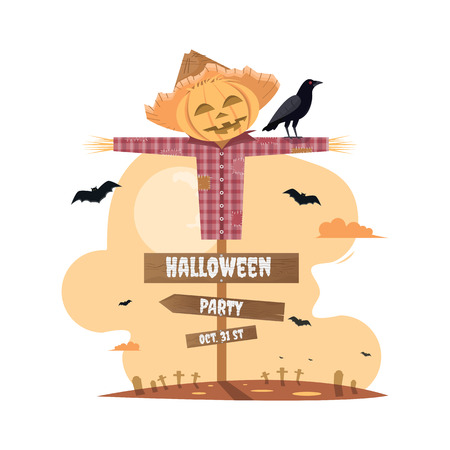 halloween party with scarecrow cartoon. Vector illustration Çizim