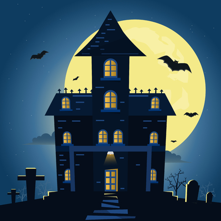 Halloween night background with pumpkin and dark castle under the moonlight. Vector illustration.