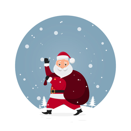 cute santa claus characters in different emotions. Funny cartoon for christmas day and new year. vector illustration