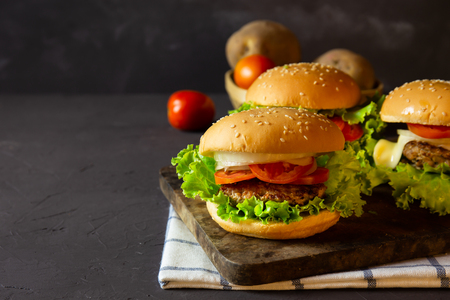 homemade hamburger with pork, onion, tomato, lettuce and cheese on rustic dark background. Stok Fotoğraf