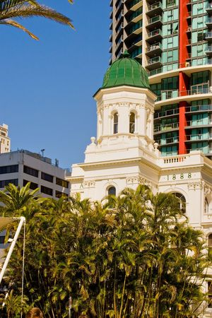 The old port office building of 1888 alongside the river in Brisbane, Queensland, Australia Stock Photo