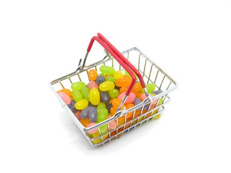 Jellybean in Cart on white background Stock Photo