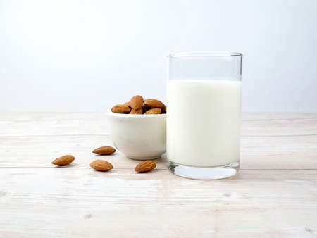A glass of milk on the table Stock fotó
