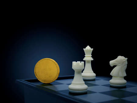 Golden coin with chess,Business concept
