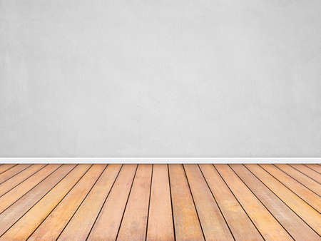 Room interior vintage with white wall and wood floor background