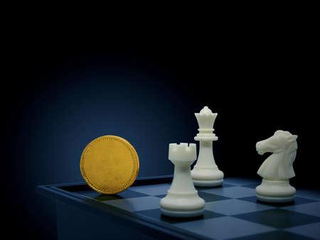 Golden coin with chess, Business concept Standard-Bild