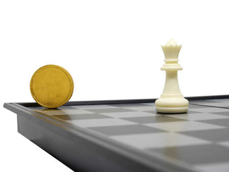 Golden coin with chess isolated,Business concept