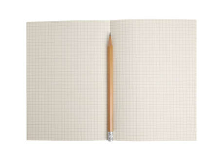 Notebook with pencil on isolated white background