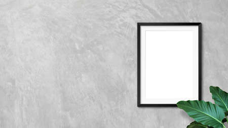 Blank frames mockup on wall with plant